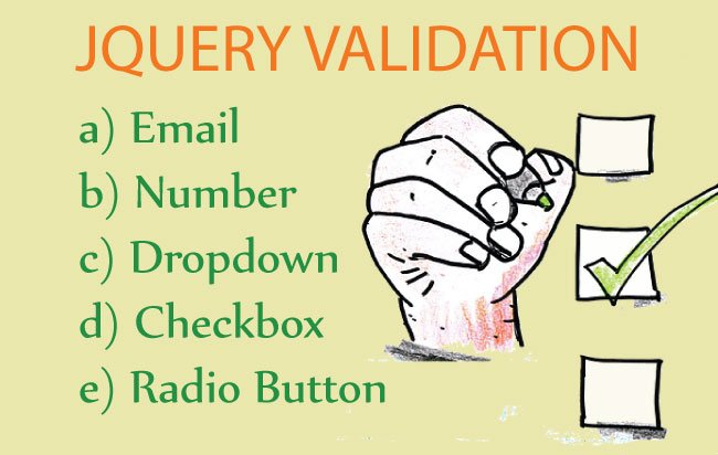 jQuery Validation of Email, Number. Dropdown, Checkbox & Radio Button