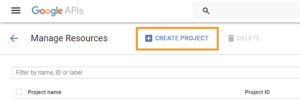creating project in google console
