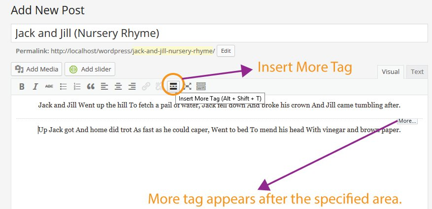 Using Insert Read More tag
