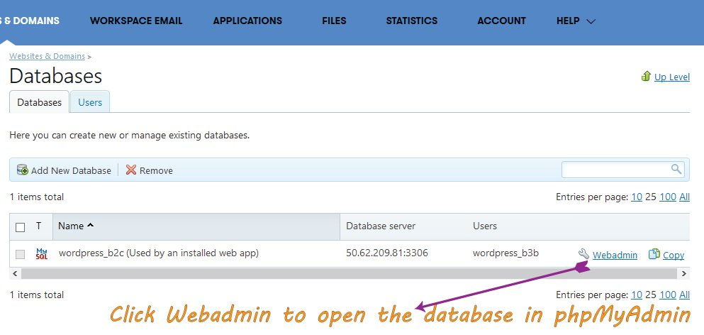 Opening Database with phpMyAdmin in Plesk Panel