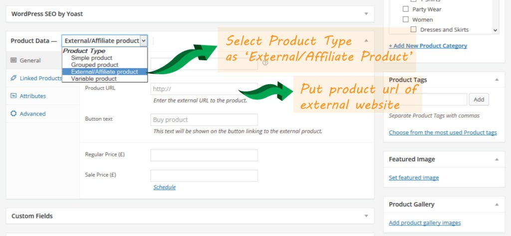 Affiliate/External Product Settings in WooCommerce