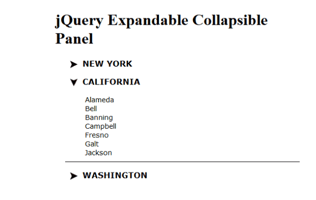 "Creating jQuery Expand Collapse Panels In HTML with ""minimum"" codes"