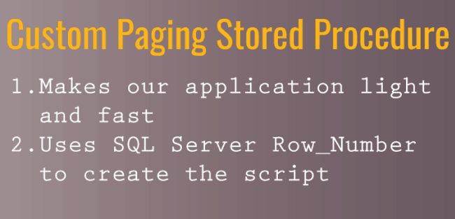 How to implement Custom Paging with SQL Server using row_number() method
