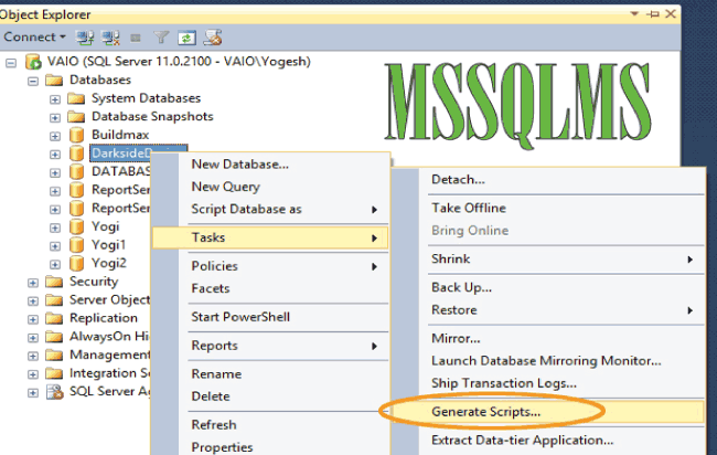 Script Database With All Data From Microsoft SQL Server Management Studio