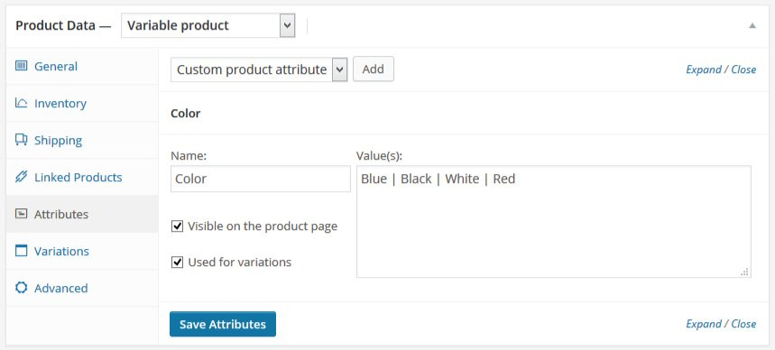 adding attributes to variable product