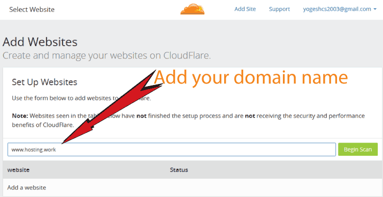 Adding Website to CloudFlare