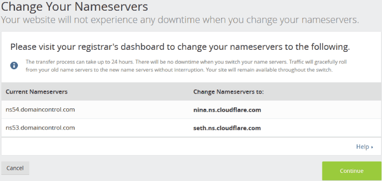 CloudFlare Change Nameservers