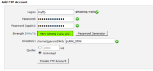 Creating FTP Account