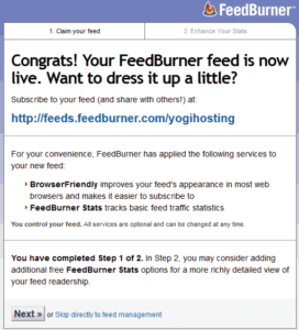 Feed Set Up Congrats Message