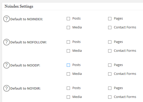 noindex settings in all In one SEO pack