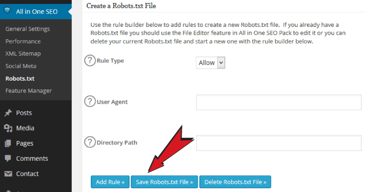 robots.txt settings in All In One SEO Pack