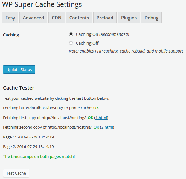 turning caching on in WP super cache