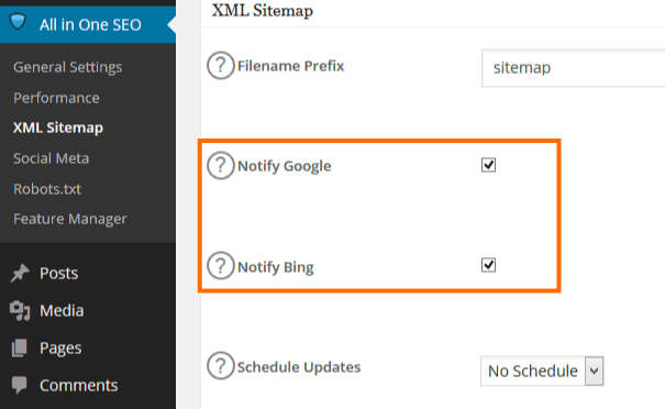 XML sitemap settings in All In One SEO Pack