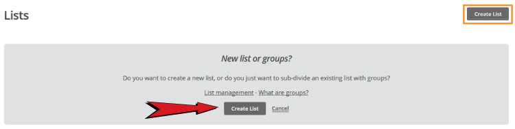 create list in mailchimp