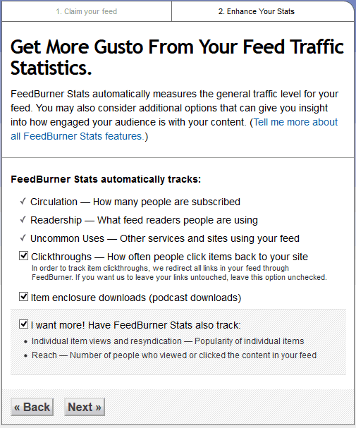 feedburner feed tracking options