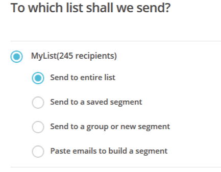 mailchimp list select