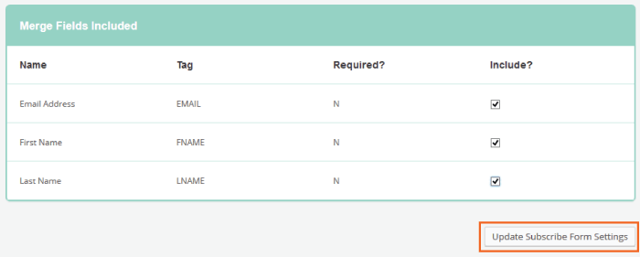 mailchimp Subscribe Form Fields