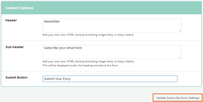 mailchimp subscribe form settings
