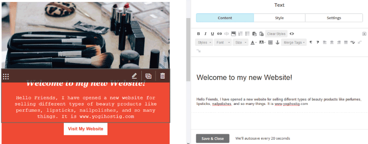 mailchimp template editing