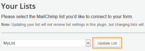 mailchimp wordpress plugin list setup