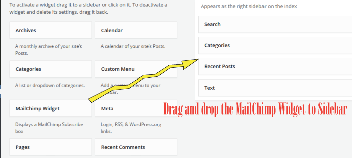 putting mailchimp widget to sidebar