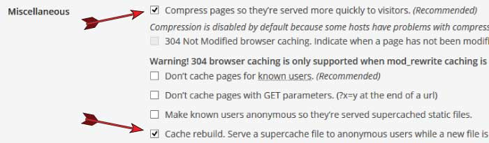 wp super cache miscellaneous settings