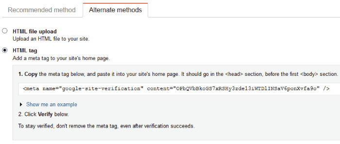 google site verification by html tag