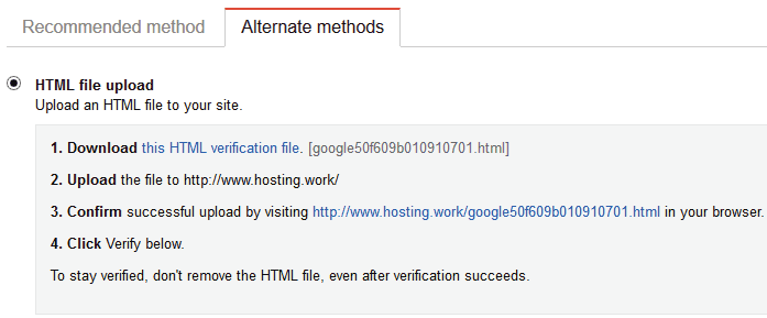 google site verification by uploading html file