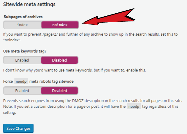 other settings in yoast seo