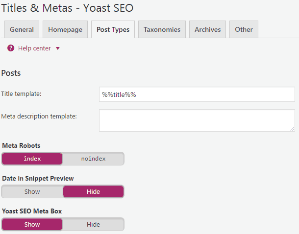 post types settings in yoast seo