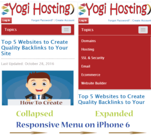 responsive wordpress menu on iphone 6