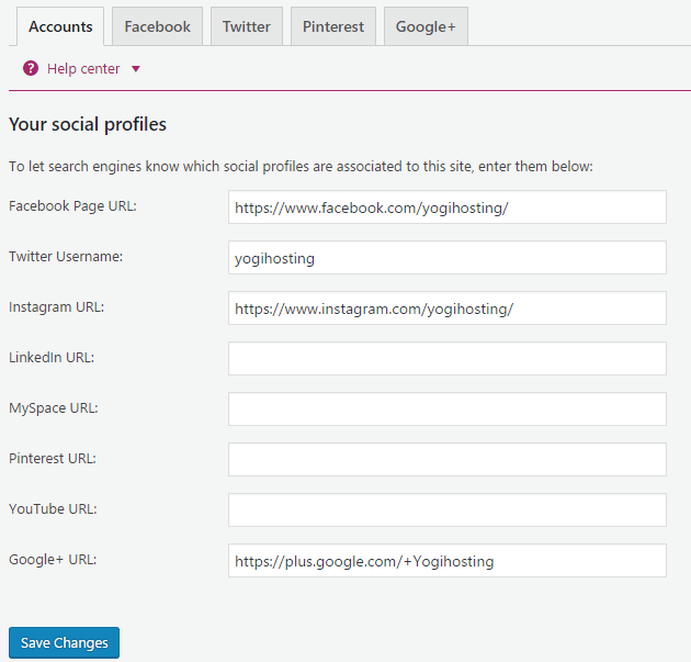 social settings in yoast seo