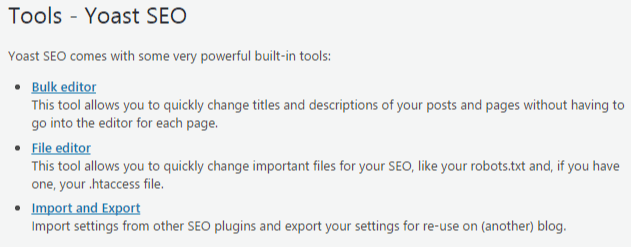 tools in yoast seo