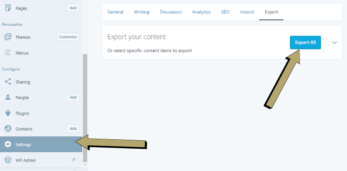 Exporting Data from WordPress com