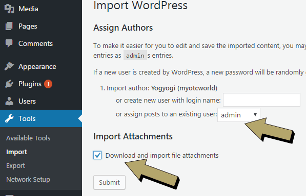 Import wordpress data