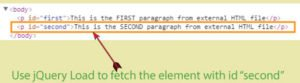 jQuery Load to fetch a DOM portion of an HTML file