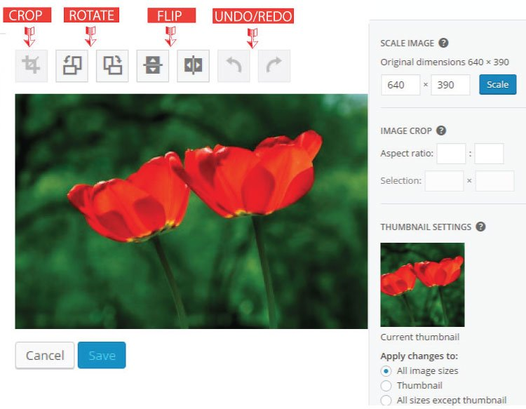 rotate scale flip and crop image in wordpress