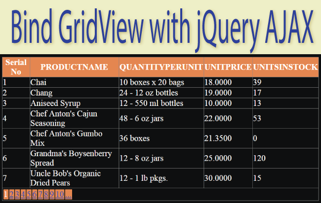 Bind GridView with Paging using jQuery Load with No Page Refresh