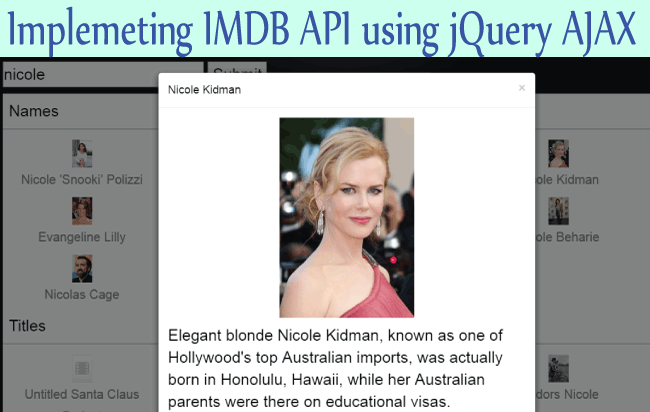How to Implement IMBD API using jQuery AJAX