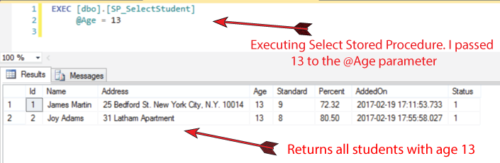 executing select stored procedure