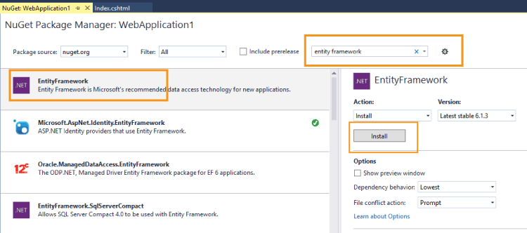 install entity framework through nuget
