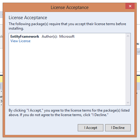 license acceptance in EF