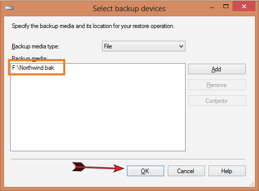 select backup devices contains northwind backup file