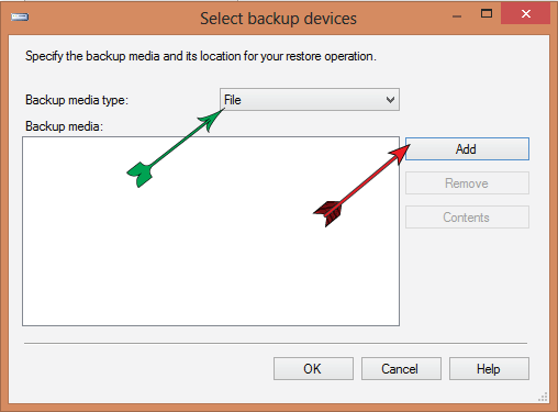 select backup devices window