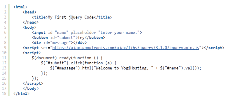 my first jquery code