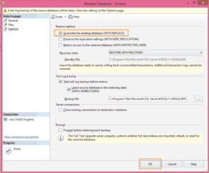 Overwrite Existing Database