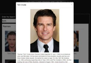 showing tom cruise details in bootstrap modal