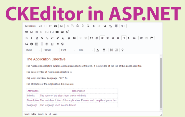 How to use CKEditor in ASP.NET Web Forms [download codes]
