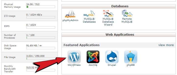 wordpress in cpanel