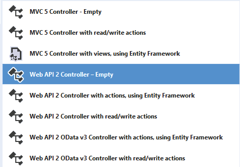 add web api 2 controller